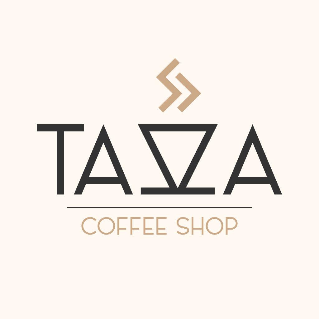 """TAZZA, Daily Logo Challenge, Day 6 pour une petite tasse de café, double Z formant une tasse. Couleur détente, plutôt """"antique"""""""