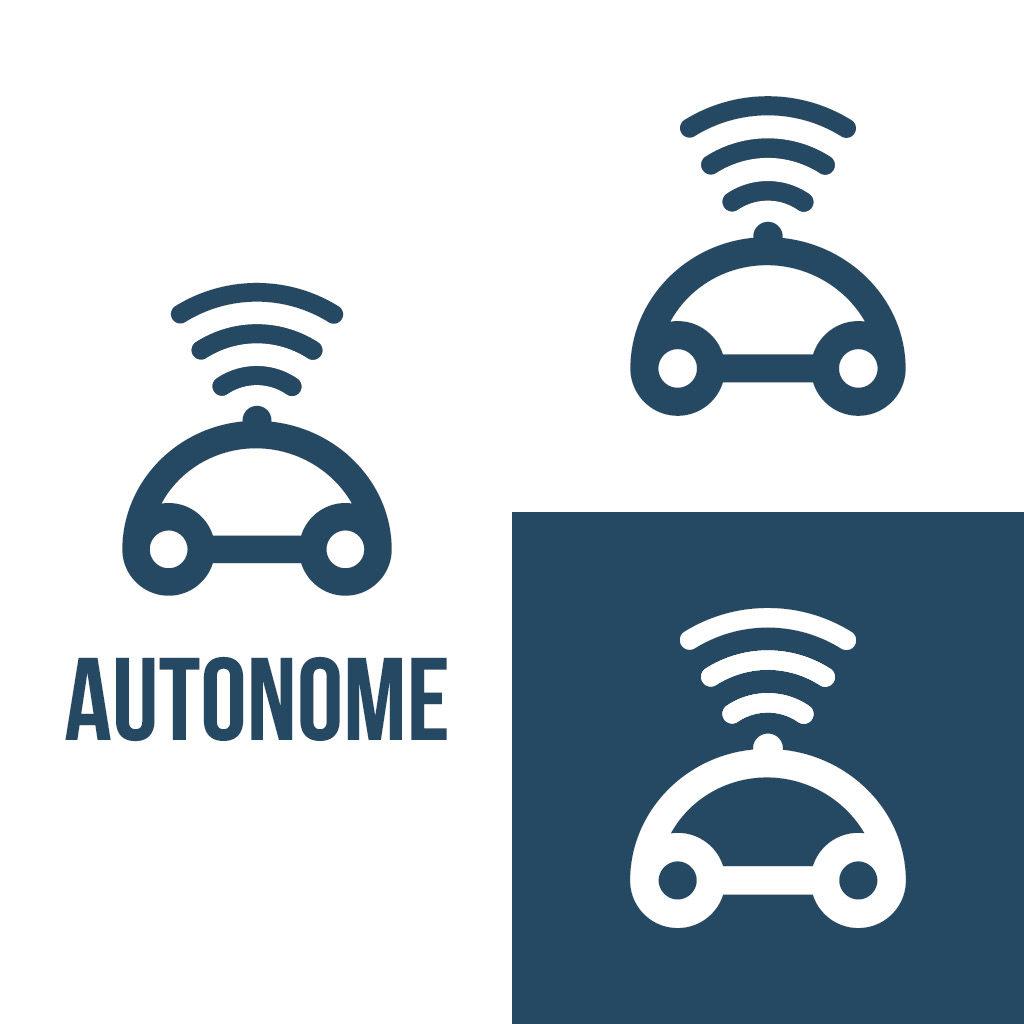 Daily Logo Challenge Day 5, que voyez vous dans le futur ? des voitures automatiques. Minimaliste et extrêmement clair