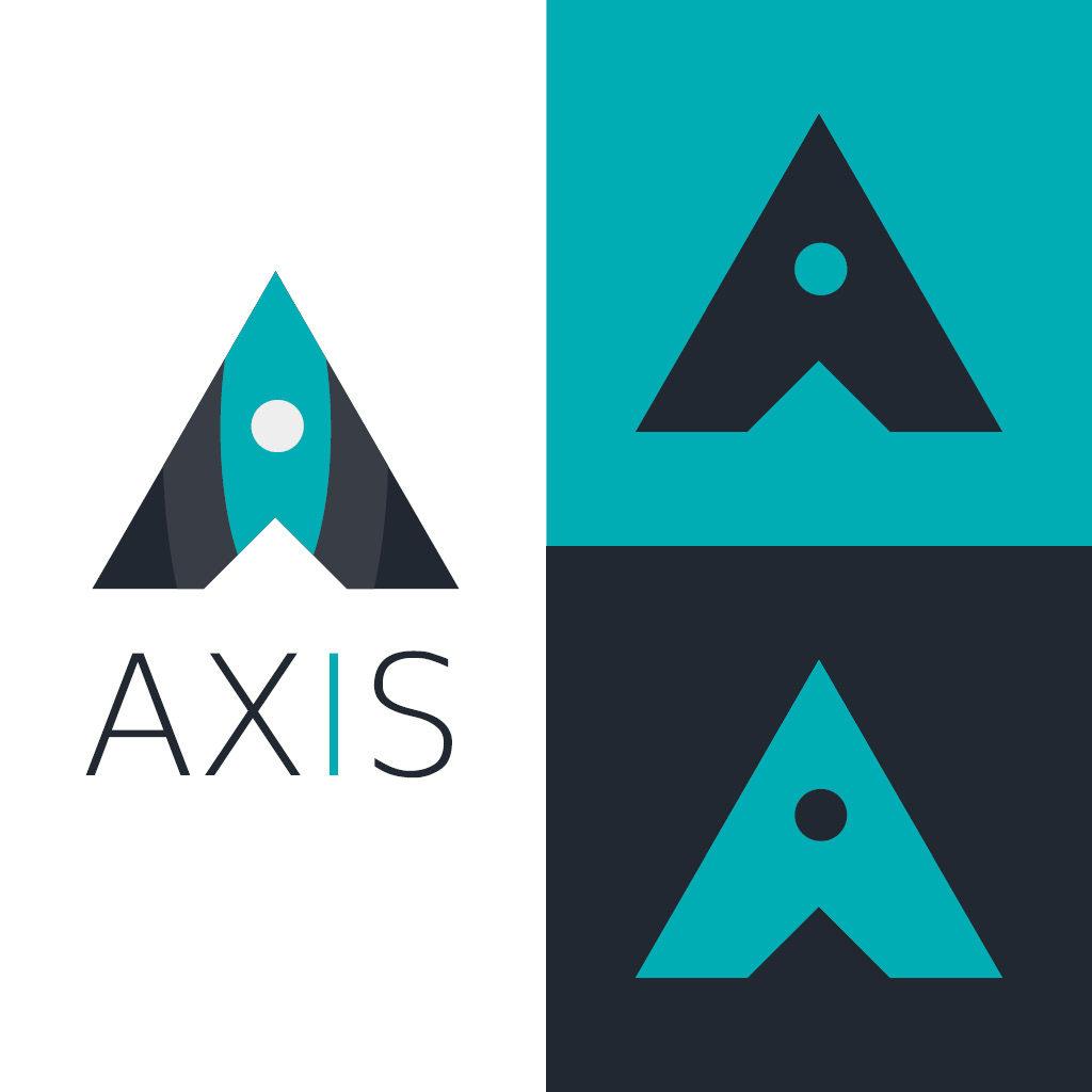 Daily Logo Challenge Day 1, AXIS la fameuse fusée ! Un Initial Logo, formant une fusé avec ses couleurs.