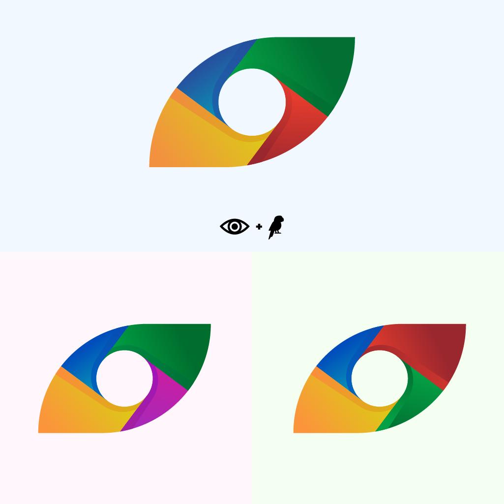 Logo mélangeant un objectif de caméra, orienté de façon a ce qu'il ressemble à une tête de perroquet de profil en utilisant les bonnes formes et les bonnes couleurs, logo purement artistique.