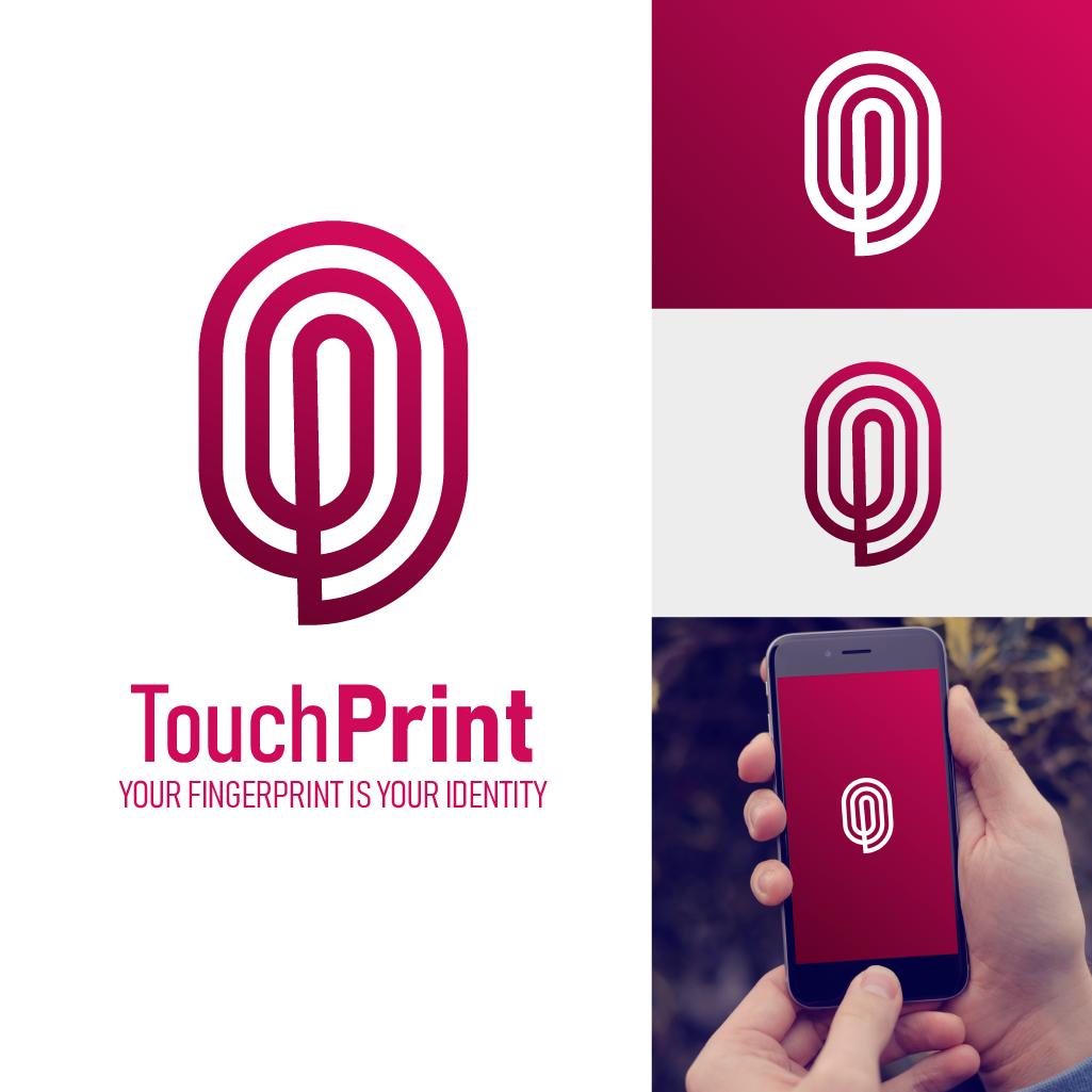 """Logo """"Touchprint"""" représente une empreinte, avec la lettre P, pour Print. Il est très professionnel et sobre."""